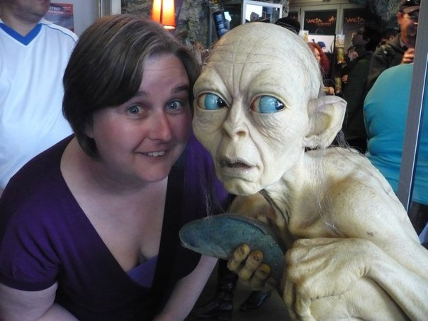 Not sure where that fish is going!  Hanging out with Gollum at Weta Cave