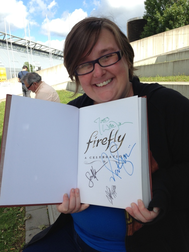 Cheesy picture of me with my Collectors edition Firefly book with a growing number of signatures